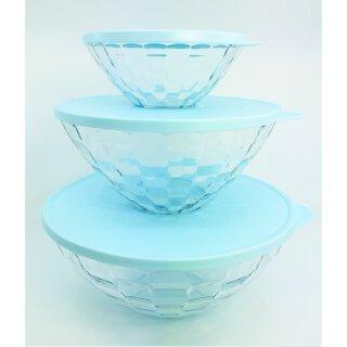 Tupperware Diamant Set 3 - teilig Schüsselset + Deckel  Glasoptik/ hellblau 3,5 l 2 l 500 ml NEU