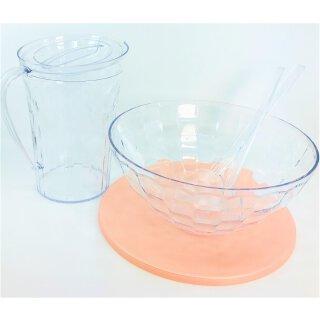 Tupperware Diamant Set 3- teilig  Kanne+Schüssel+Salatbesteck Glasoptik/ rose NEU