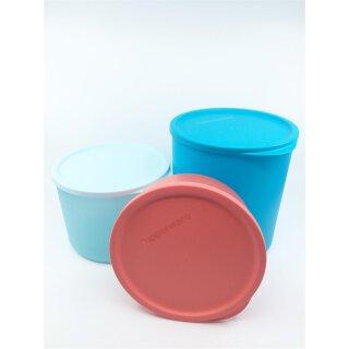 Tupperware Set Frische Runde Geburtstagskracher 3 - teilig Schüssel Behälter mit Deckel 3,3 + 2,1 l + 950 ml NEU