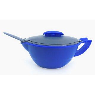 Tupperware Thermo Duo Sauciere 400 ml mit Kelle Warmie Servierschüssel Soße Warmhalter blau /  dunkelblau NEU