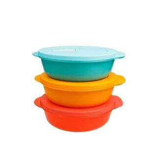 Tupperware Crystal Wave Set 3 x1 l  Mikrowelle lachs, orange, hellblau NEU