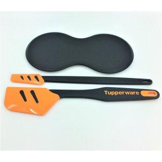 Tupperware großer Top Schaber + kleiner Top Schaber + Löffelablage schwarz orange Teigschaber  D 167 Ablage Küchenutensilien NEU