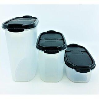 Tupperware Set 3 x Eidgenosse 500 ml + 1,1 l + 1,7 l  schwarzer Deckel Vorrat Vorratsdose  NEU