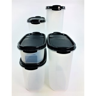 Tupperware Set 5 x Eidgenosse 500 ml + 1,1 l +1,7 l + 2,3 l + 2,9 l  schwarzer Deckel Vorrat Vorratsdose NEU