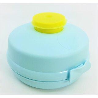 Tupperware Semmelrunde Hamburger Lunchbox mit Dressingbehälter hellblau / gelb Soße zum Mitnehmen Bagel Brötchen Salat NEU