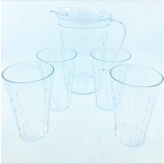 Tupperware Diamant Kanne 2 l + 4 Trinkbecher 475 ml Glasoptik transparent NEU