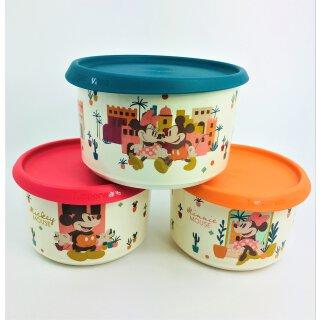 Tupperware Dosenset Mickey Mouse 3- teilig 1 x 1,4 l + 2 x 940 ml Bunte Runde Ergonomica Schüssel Micky Maus NEU