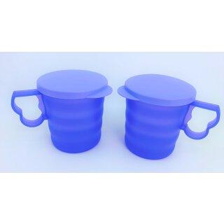 Tupperware Set Junge Welle 2 Trinkbecher helllila mit Deckel 350 ml Kühlschrank servieren NEU