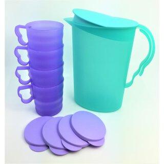 Tupperware Set Junge Welle Kanne 2,1 mint  + 4 Trinkbecher lila mit Deckel 330 ml Kühlschrank servieren NEU