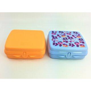 Tupperware Set Lunchbox hellblau Blättermotiv + Lunchbox orange Snack Frühstück NEU